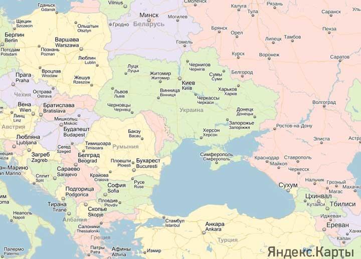 карта россии с турцией