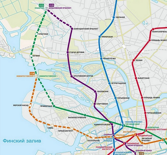 Схема линий петербургского метрополитена сперспективой развития до2025 года