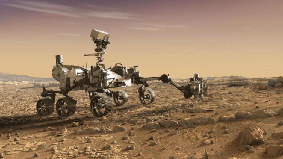 Концепт марсохода Mars 2020. На нем будет использоваться роботизированный манипулятор Sample Handling Assembly от Maxar Technologies