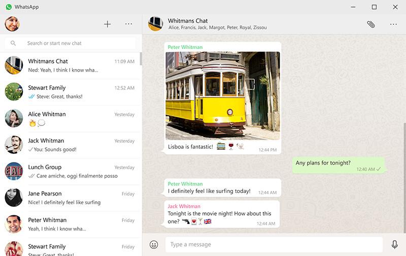 Интерфейс мессенджера WhatsApp дляперсональных компьютеров подуправлением Windows