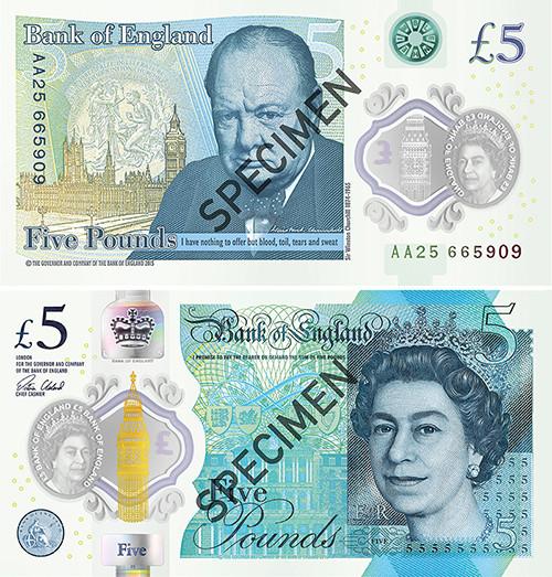 Образец первой пластиковой банкноты впять фунтов стерлингов Банка Англии