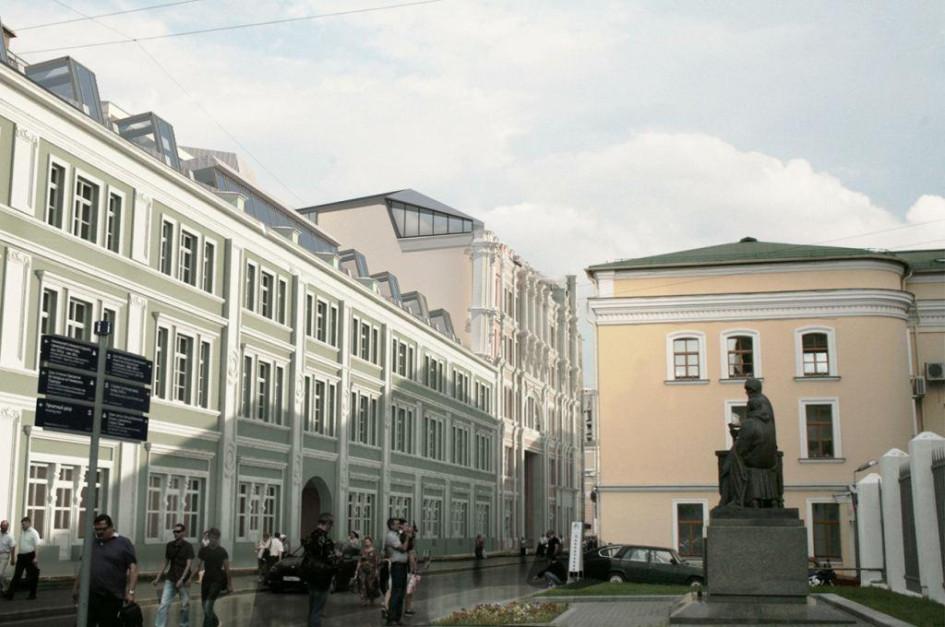 Проектное изображение реконструкции фасада доходного дома с надстройкой мансарды