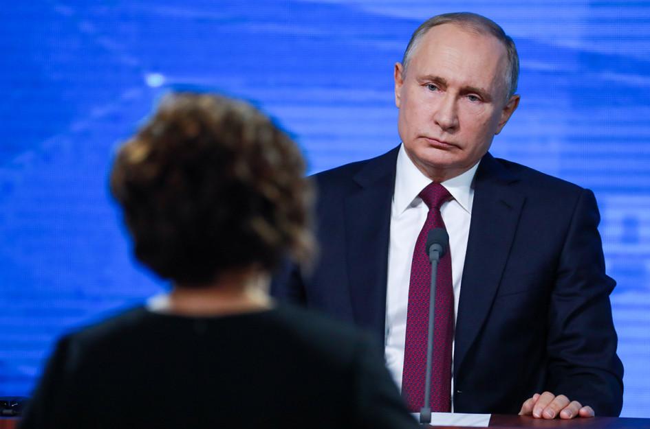 Президент РФ Владимир Путин во время большой ежегодной пресс-конференции 20 декабря 2018 года