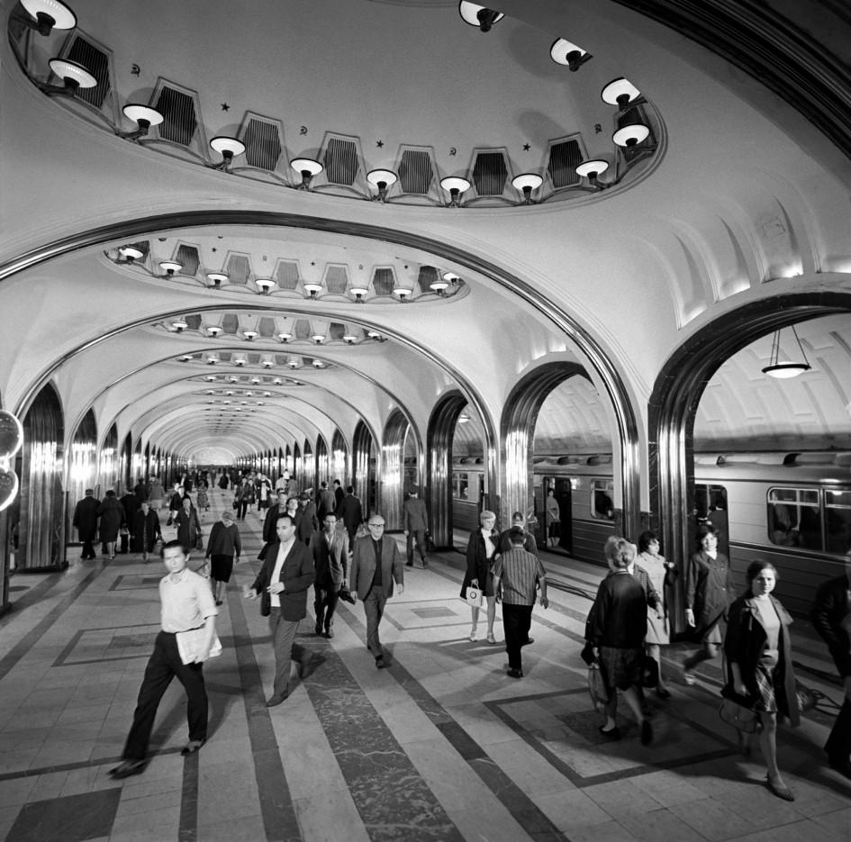 Станция метро «Маяковская» Горьковско-Замоскворецкой линии. 1977 год