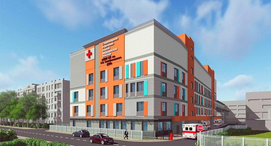 Фасад нового корпуса НИИ скорой помощи имени Н. В. Склифосовского
