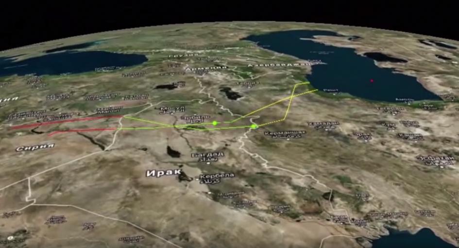 Траектории полета ракет надтерриторией Ирана, Ирака иСирии