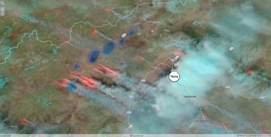 Снимок со спутника пожаров под Читой.  Данные с сайта fires.kosmosnimki.ru