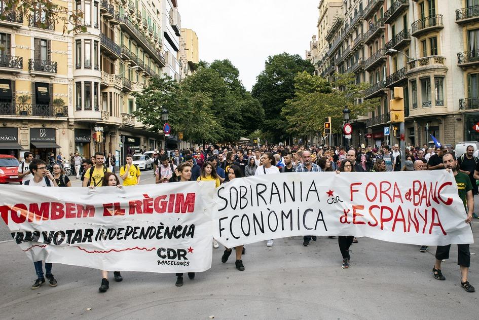 Барселона. Акция сторонников независимости Каталонии в годовщину проведения референдума об автономии республики. Январь 2018 года