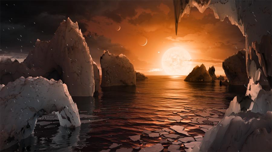 Возможная поверхность TRAPPIST-1F, одной из обнаруженных планет в системе TRAPPIST-1