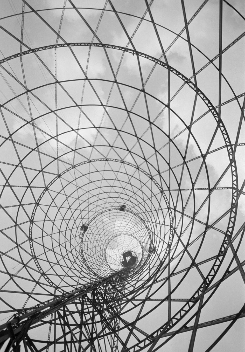 Антенна Московского телевизионного центра на Шаболовке. Точная дата съемки не установлена