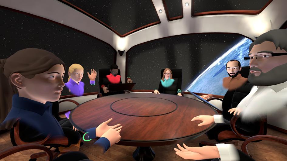 Встреча распределенной команды в космической переговорке MeetinVR