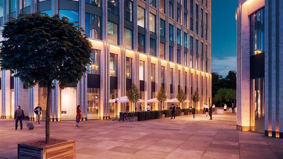 Проект общественного пространства у нового бизнес-центра