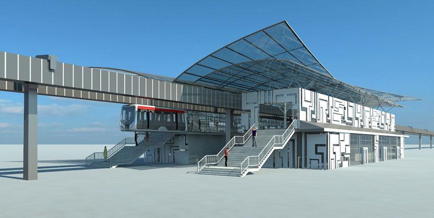 Визаулизация станции «воздушного» метро «Стрела»