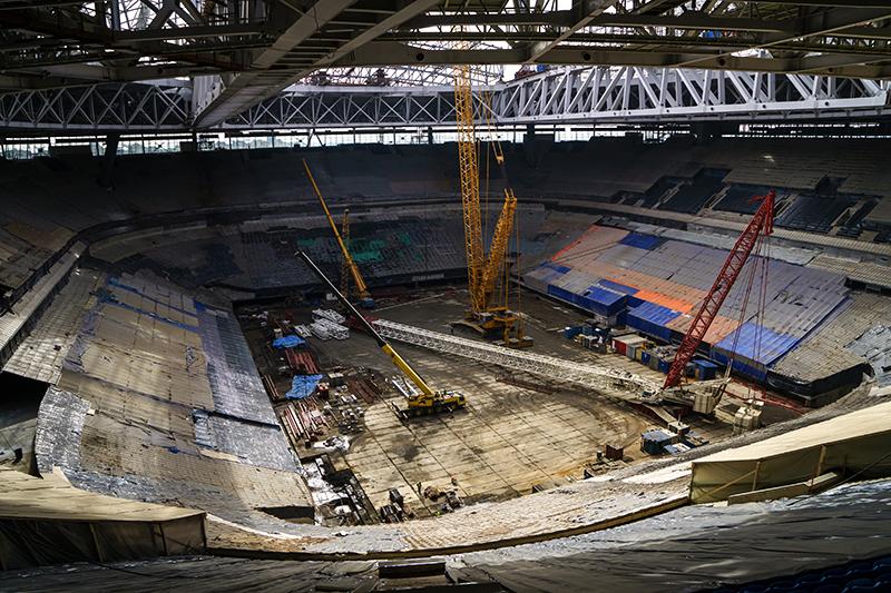 Строительство стадиона «Зенит-Арена», апрель 2016 года