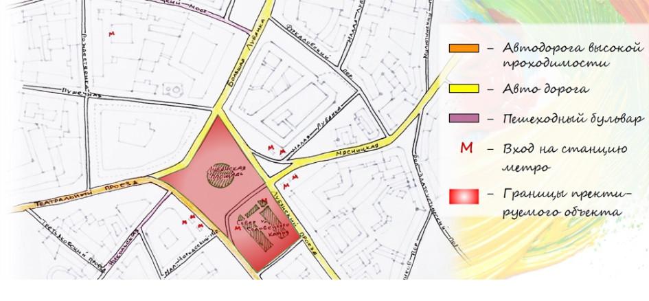Современный ситуационный план Лубянской площади