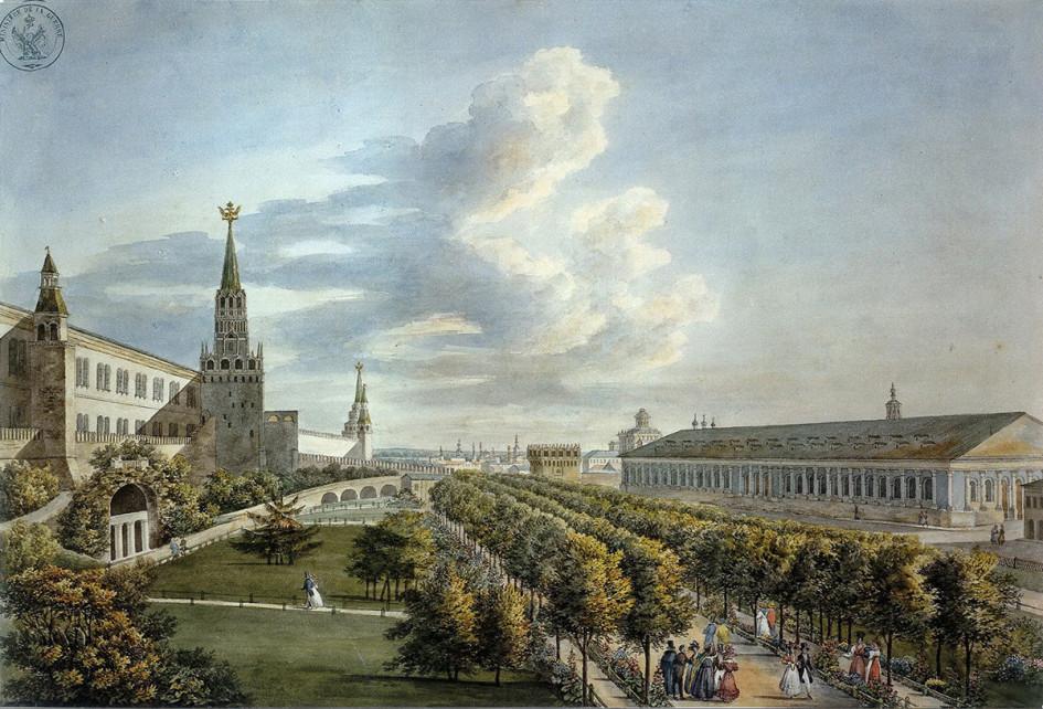 Огюст-Антуан Кадоль. Манеж и Кремлевский сад. 1823–1824 годы