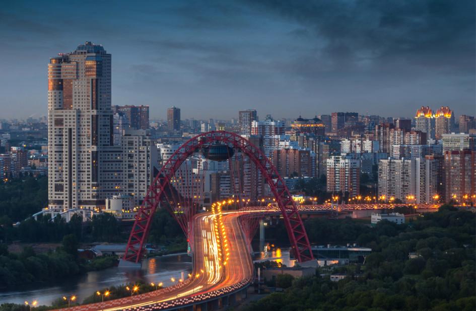 Вид на Живописный мост и район Хорошево-Мневники