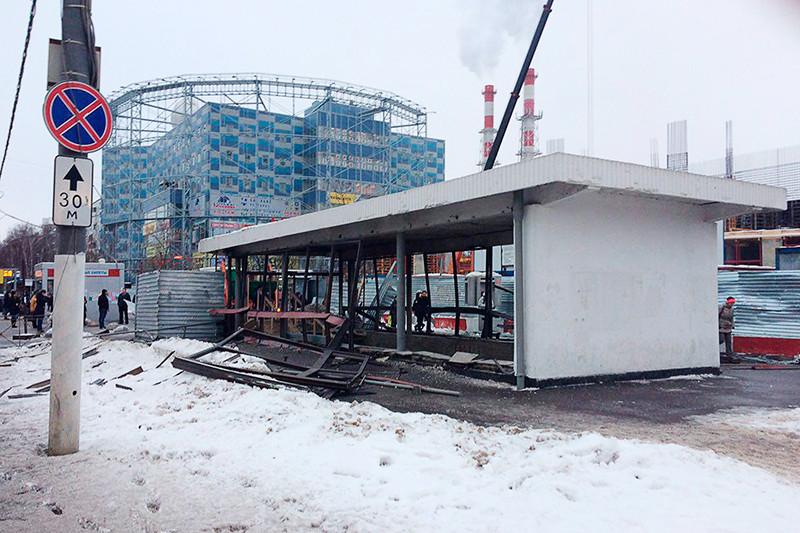 Последствия взрыва газового баллона у метро «Коломенская» вМоскве