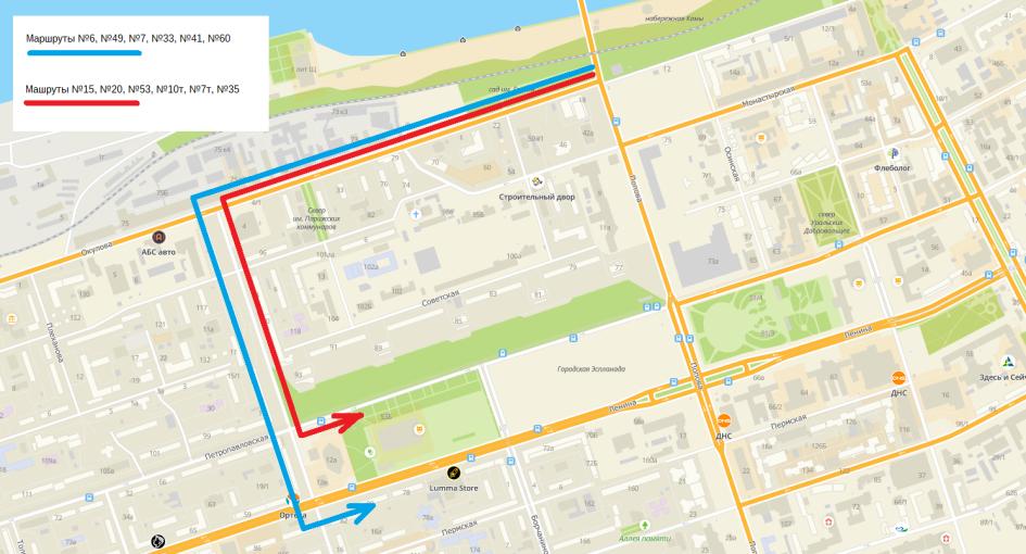 Схема: объезды общественного транспорта на время реконструкции ул. Попова