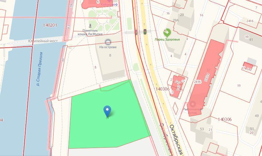 Фото: Скриншот с кадастровой карты (зеленым выделен участок, на котором расположится музей)