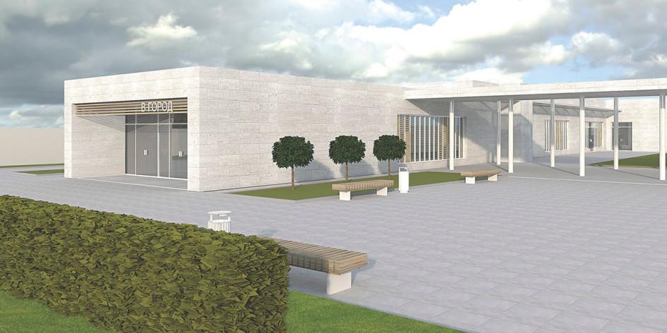 Фасад нового входного павильона Московского зоопарка