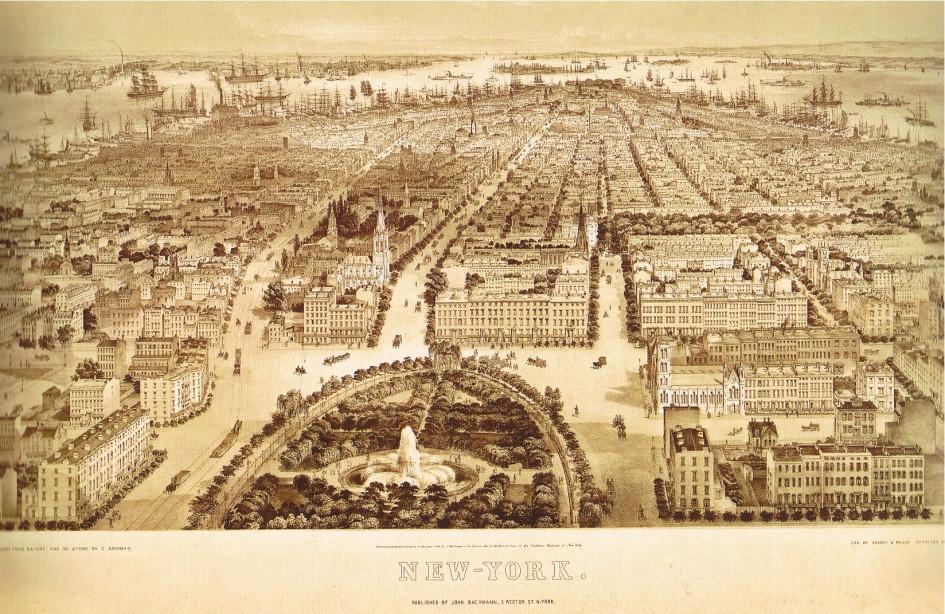Вид на Даунтаун от Юнион-сквера в 1849 году