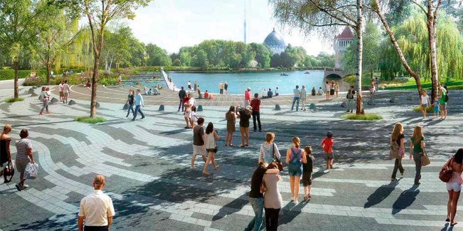 Проектный вид нового ландшафтного парка на ВДНХ