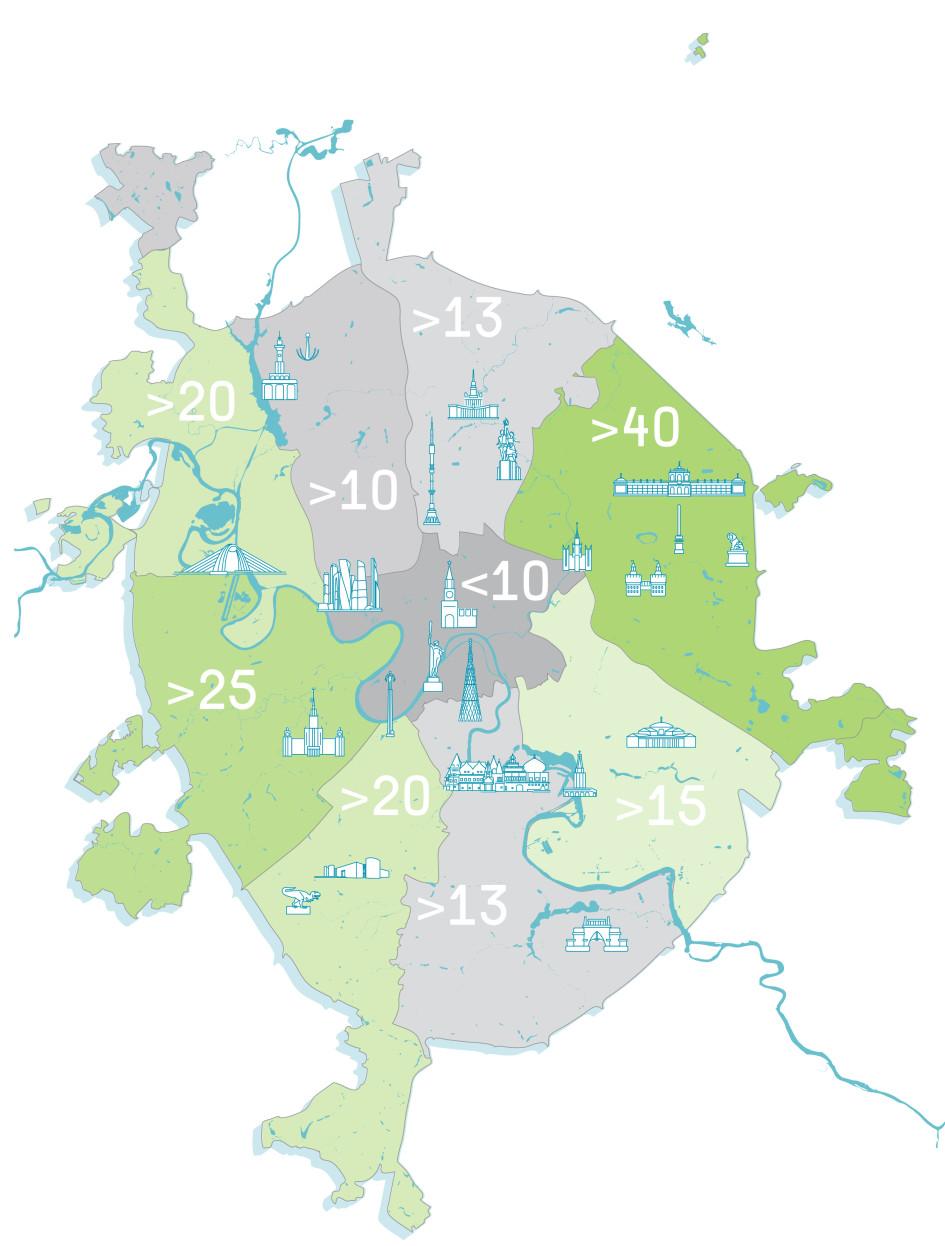 Площадь зеленых насаждений на человека по округам Москвы (по нормативу— 16 кв. м)