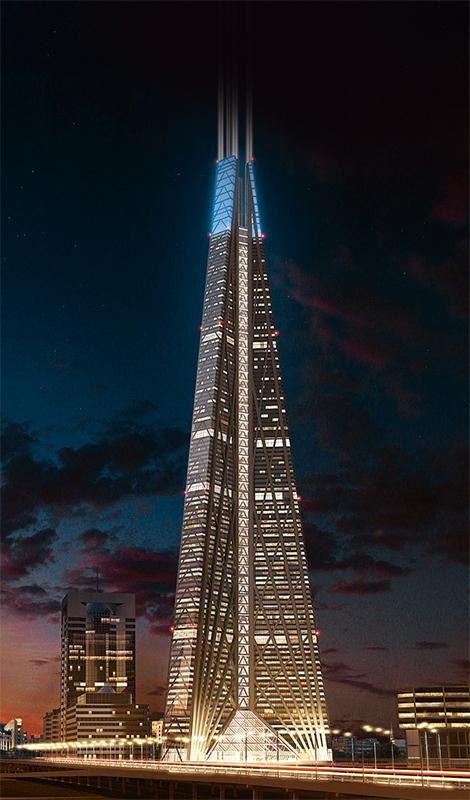 Было: башня Россия (612 м) по проекту Нормана Фостера