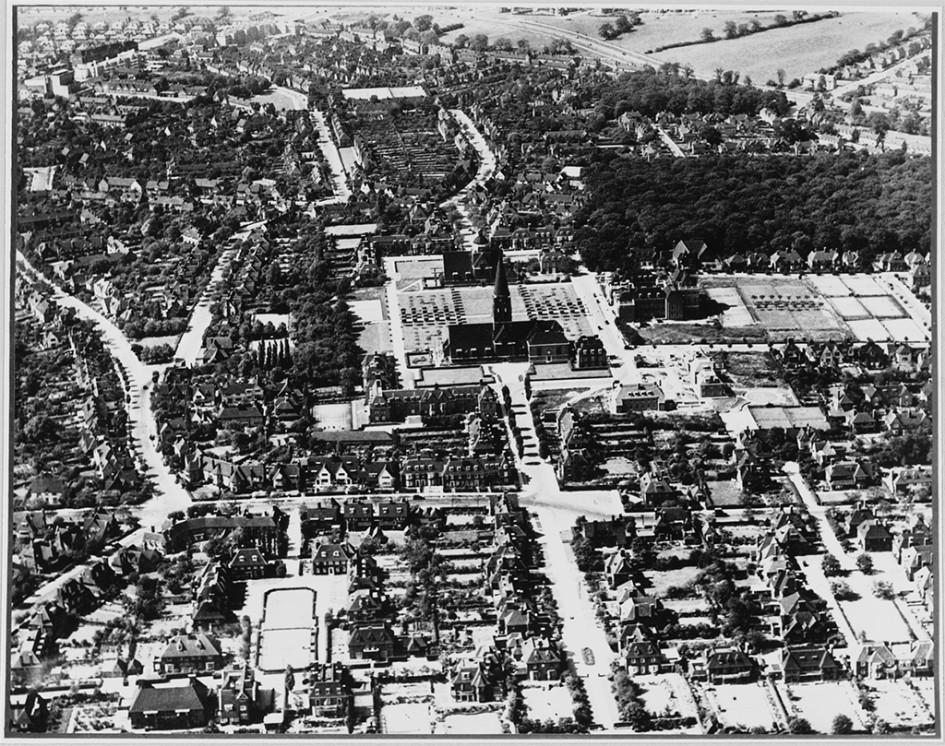 Вид на район Hampstead Garden Suburb. 1930-е годы