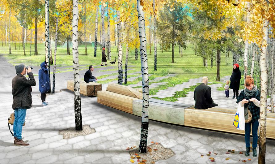 В парке будет расставлено несколько сотен дизайнерских скамеек