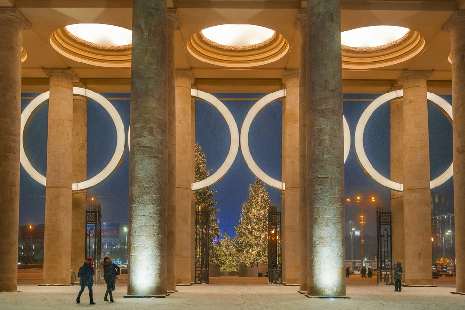 Новогоднее оформление парка им. Горького в Москве