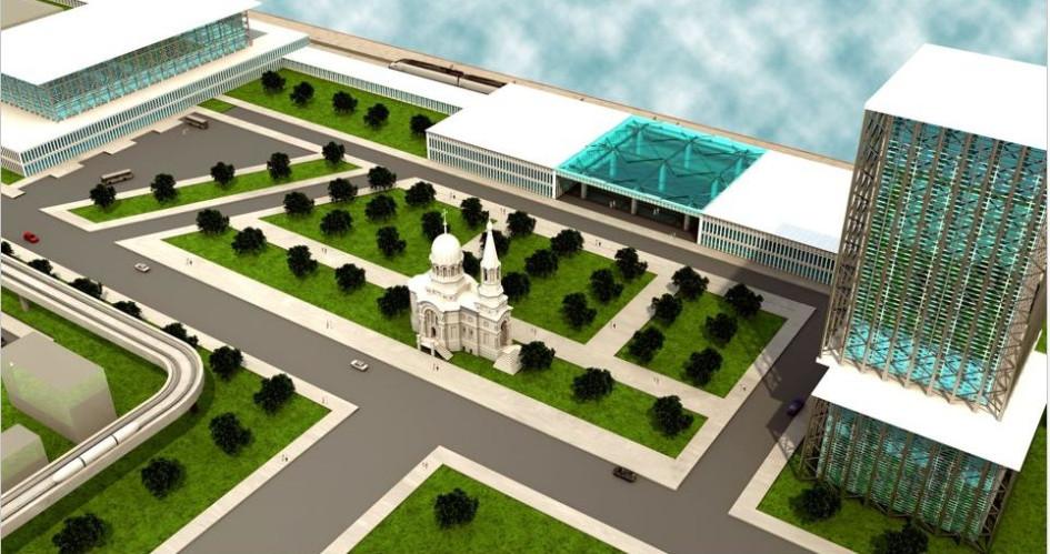 Автовокзал (слева), железнодорожный вокзал (в центре) игостиница (справа) впроекте «Тверь-Сити»