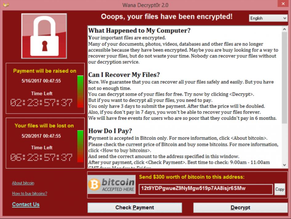 Окошко с требованиями вымогателей WannaCry