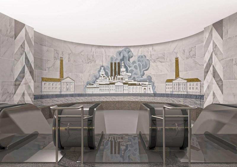 Эскизный проект мозаичного панно ввестибюле станции метро «Елизаровская»