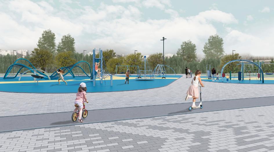 Большая часть территории детской площадки будет покрыта каучковой крошкой. Здесь же установят гибкие элементы для лазания, качели, карусели, игровые структуры и горки