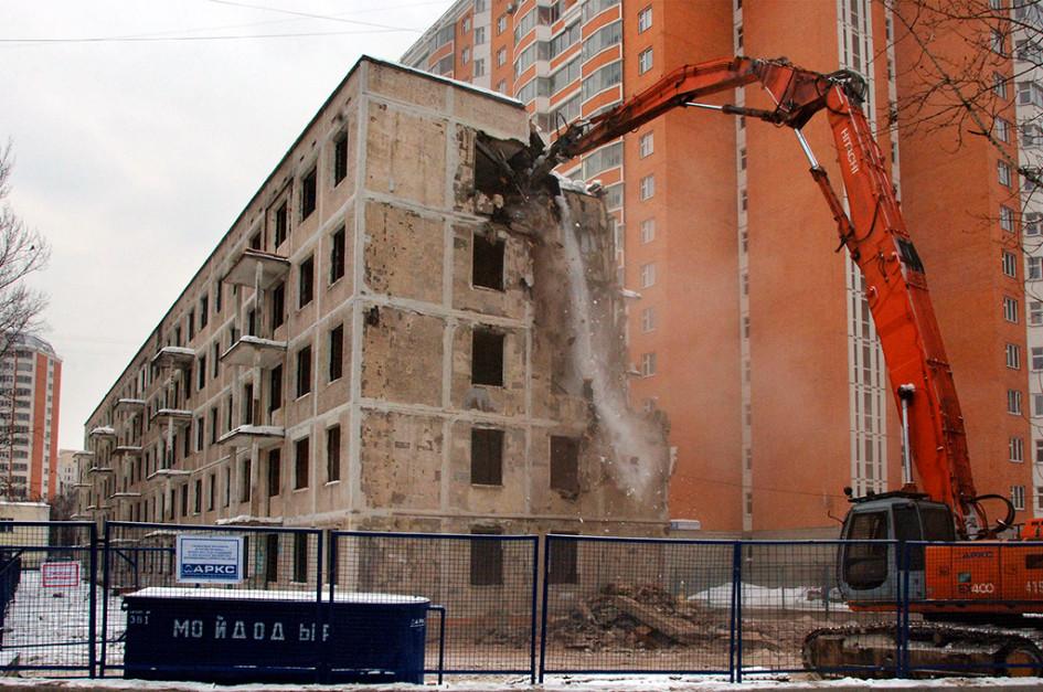 Снос панельной хрущевской пятиэтажки вТаганском районе