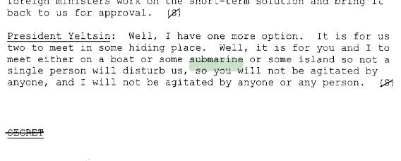Отрывок из стенограммы разговора Бориса Ельцина и Билла Клинтона13 июня 1999 года. Скриншот: Clinton Digital Library