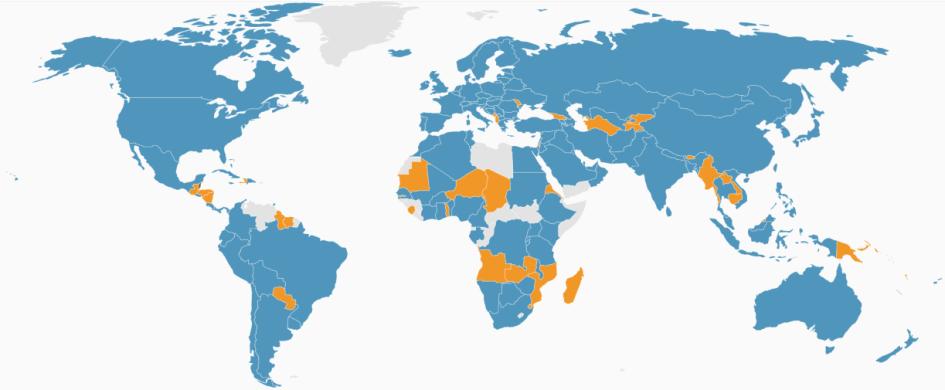 Государства-члены (синим) и члены-корреспонденты (оранжевым) ISO