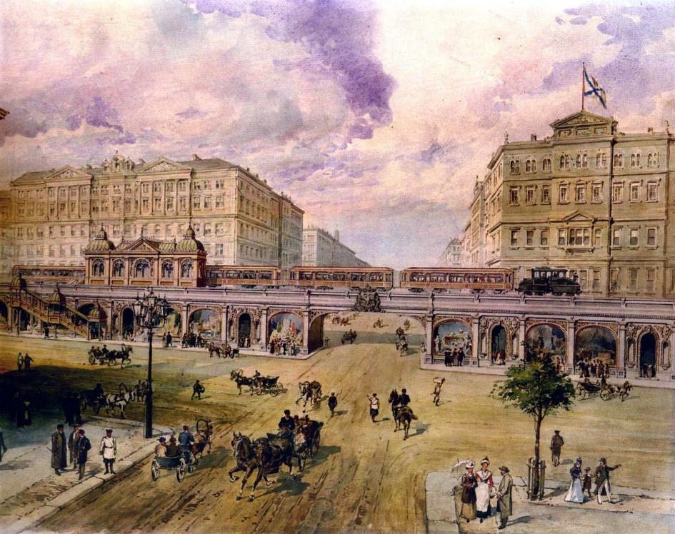Фото: Проект Петербургского метрополитена П. И. Балинского (1900-е)