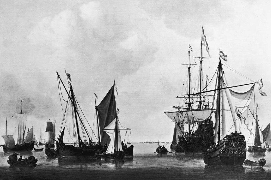 Корабли возле Амстердама. 1670 год. Художник Виллем ван де Велде-младший