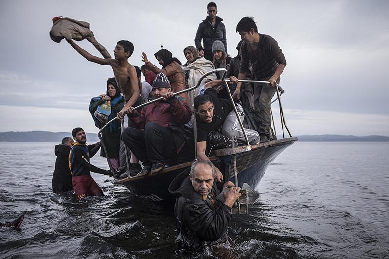 Фотография СергеяПономареваизрепортажа о прибывающих в Европу беженцах