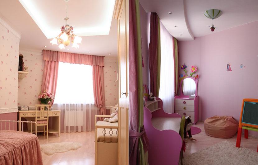 Спальня и детская заняли соседние помещения в квартире с закруглением большого радиуса. С определенных ракурсов выпуклость стен остается незаметной, однако дизайнерам все равно пришлось адаптировать обстановку к незначительному скруглению