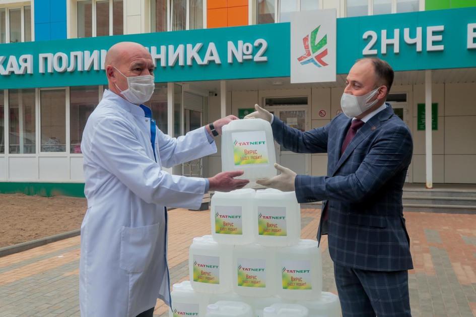 ПАО «Татнефть» безвозмездно передает произведенный на входящем в группу нефтеперерабатывающем комплексе антисептик в медицинские учреждения