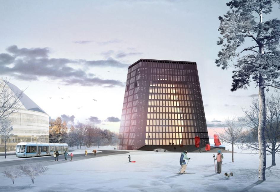 Вид здания зимой после завершения строительства