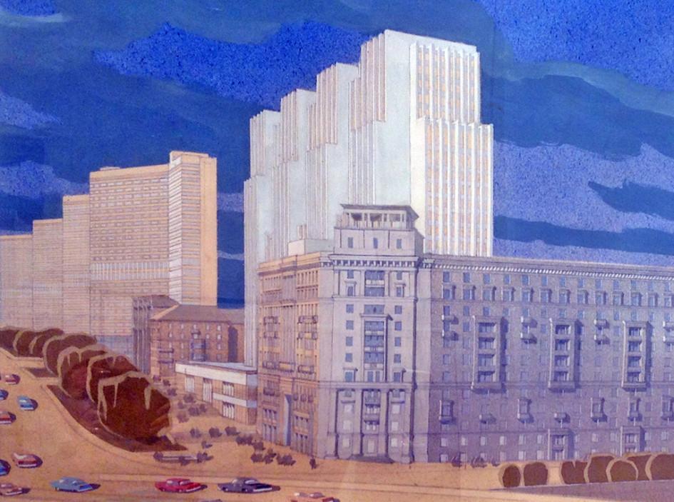 Проект здания Министерства внешней торговли.1970-е годы