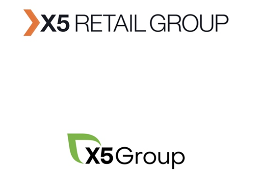 Старый (выше) и новый логотипы X5 Retail Group