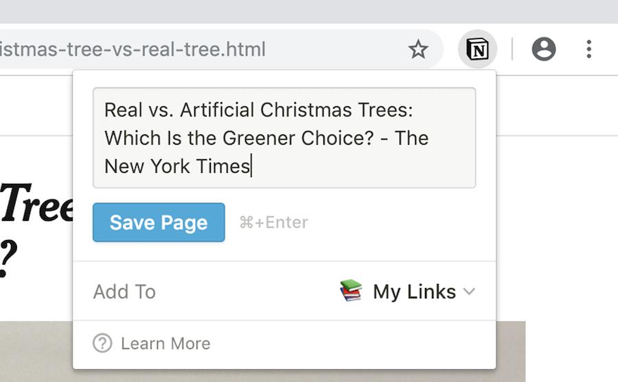 Чтобы сохранить страницу, нужно нажать на лого Notion на панели браузера