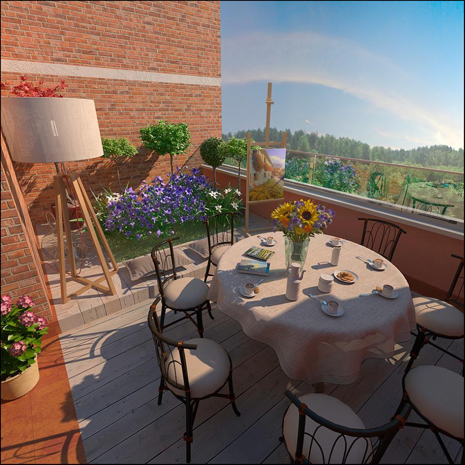 В современных домах малогабаритные балконы уступили место лоджиям итеррасам, которые превратились вполноценные зоны отдыха