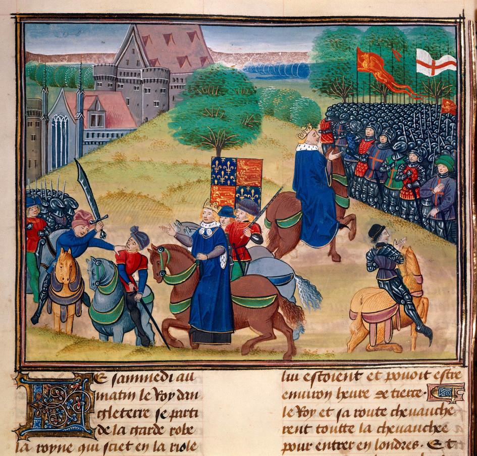 Казнь Уота Тайлера, лидера крестьянского восстания 1381 года в Англии. Поводом для восстания стало введение подушного оклада, но проблемы начались с «Устава рабочих» 1351 года, который фиксировал зарплаты на уровне 1346 года, и продолжал действовать в 1381-м. «Хроники» Жана Фруассара, 1475-1500 годы